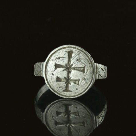 Medieval Silver Knights Templar Seal Ring with Patriarchal Cross - (1)