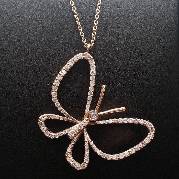 0.80ct Natural Fancy Mix Pink Diamonds - 18 kt. Pink gold - Pendant - ***No Reserve Price***