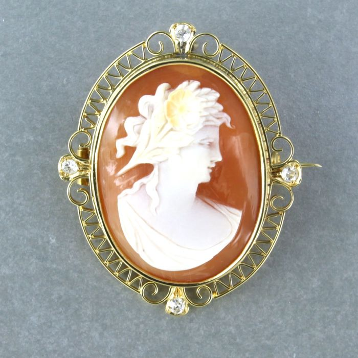 18 kt. Yellow gold, cameo - Brooch - 0.15 ct Diamond