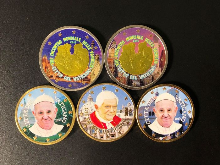 Vatican - 50 cts & 2 Euro 2015 - 2010 (5 coins)