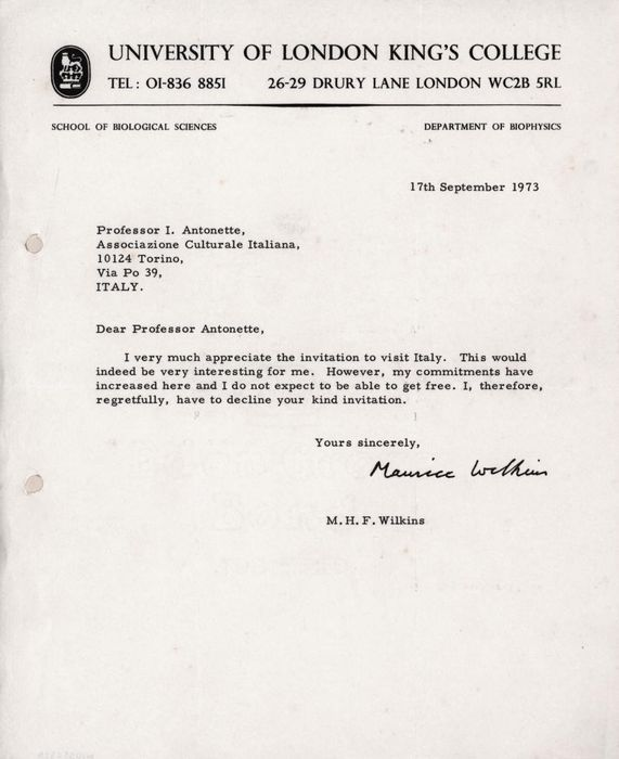 Maurice Wilkins Nobel Prize DNA Discovery - Autograph; Letter from University of London King's College declining an Invitation - 1973