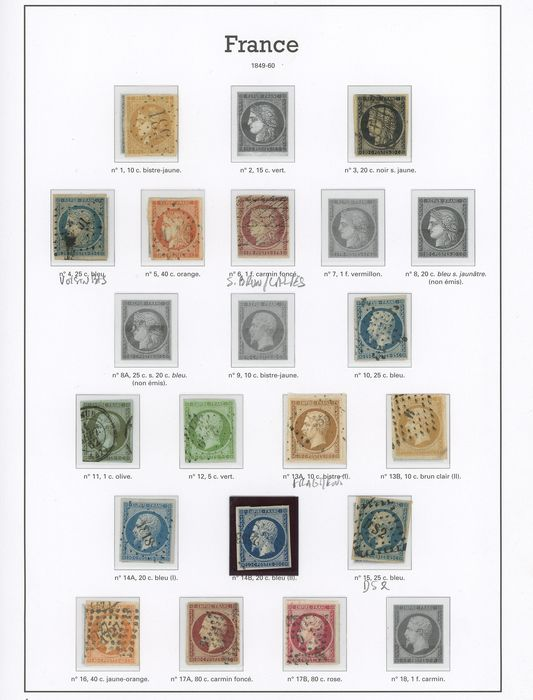 Francia 1849/1900 - A lovely set of classic Ceres, Napoleon and Sage stamps on Marini pages. - Yvert Entre les n°1 et 105