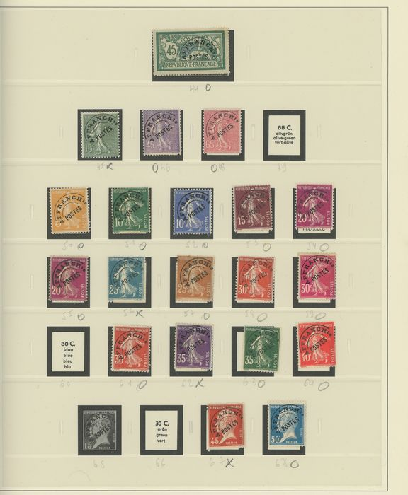 Francia 1861/1935 - A small set of pre-postmarked and tax stamps on Safe pages. - Yvert