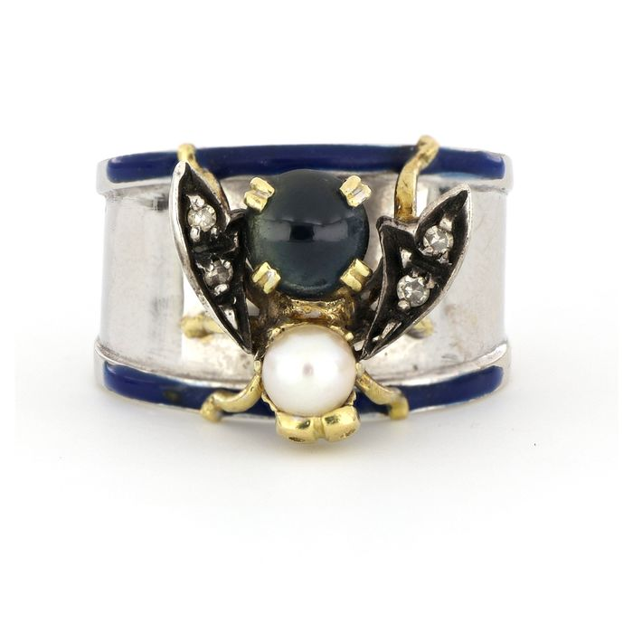 No Reserve Price - 18 kt. White gold, Yellow gold - Ring Sapphire - Diamonds, Pearl, Cultivated saltwater akoya - size 4.5mm