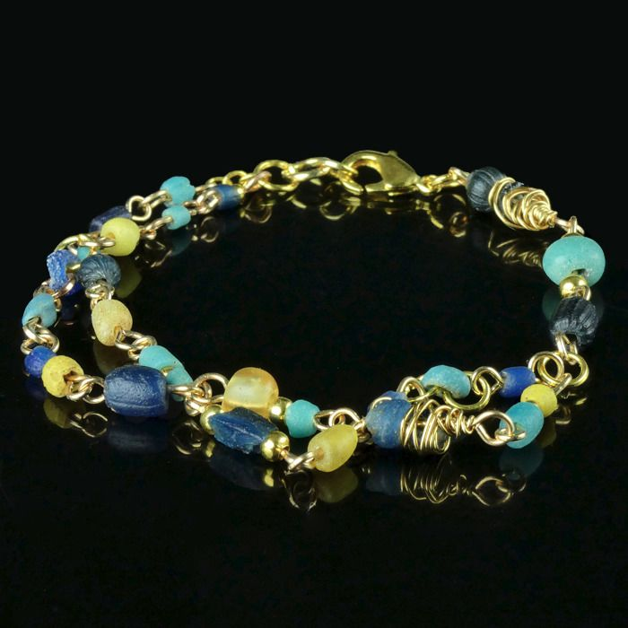 Ancient Roman Glass Bracelet with blue, turquoise and yellow glass beads - (1)