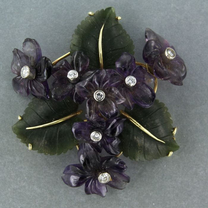 14 kt. Yellow gold - Brooch - 0.50 ct Diamond - Amethyst, agate