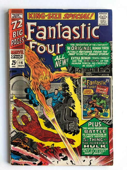 Fantastic Four Annual #4 - Origin And 1st Silver Age Appearance Of The Golden Age Human Torch - Mid Grade!!! - Softcover - Eerste druk - (1966)