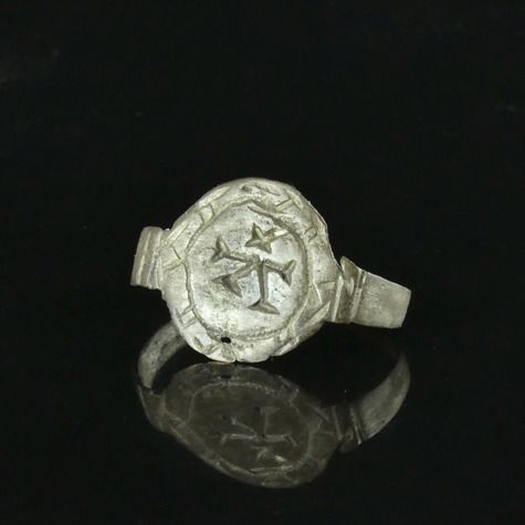 Medieval Silver Seal Ring with Housemark or Merchant's mark - (1)
