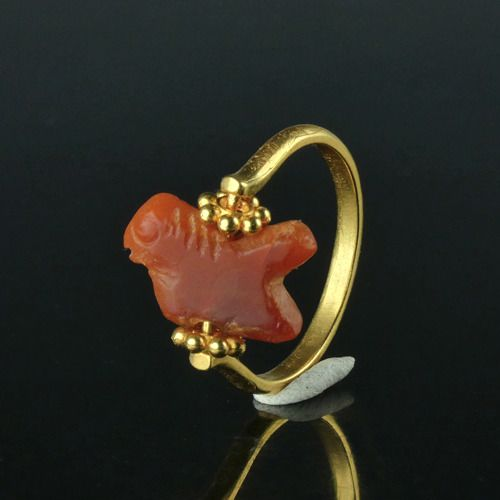 Ancient Roman Carnelian Ring with carnelian amulet bead - (1)