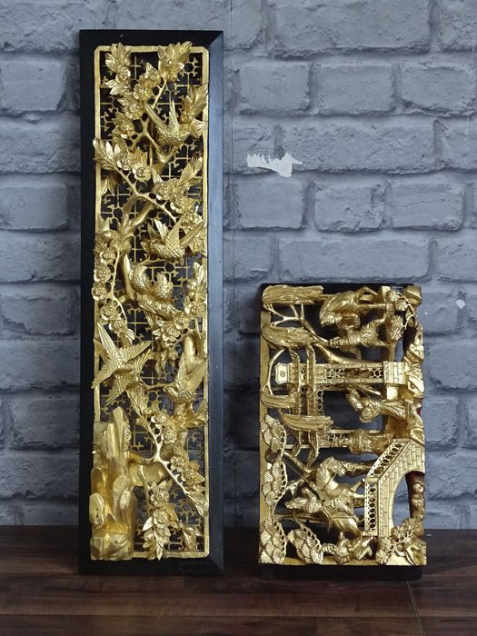 Panels (2) - Lacquered wood - China - Second half 20th century