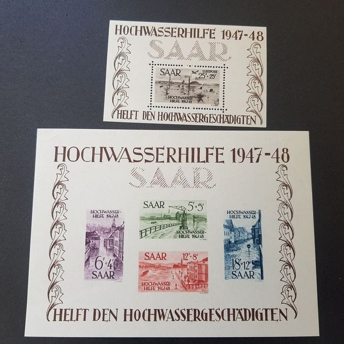 Saarland 1947/1949 - Collection with Hochwasser blocks and French zone