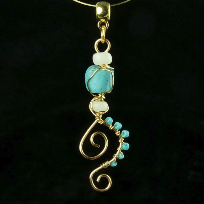 Ancient Roman Glass Pendant with turquoise and white glass beads - (1)