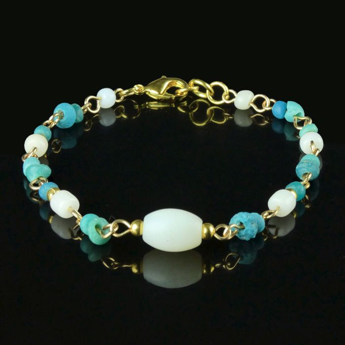 Ancient Roman Glass Bracelet with turquoise and white glass beads - (1)