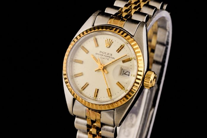 """Rolex - Lady Oyster Perpetual Date Gold/Steel Chronometer - """"NO RESERVE PRICE"""" - 6917 - Dames - 1970-1979"""