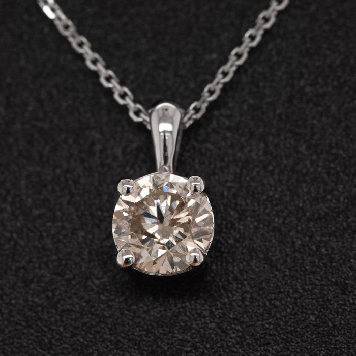 14 kt. White gold, 1.61g - Necklace with pendant - 0.56 ct Diamond - No Reserve Price