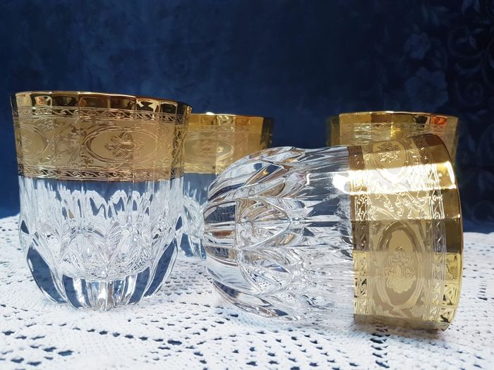 Cristal T. Murano - Wonderful service in Murano glass and 24 kt gold (4) - .999 (24 kt) gold, Crystal