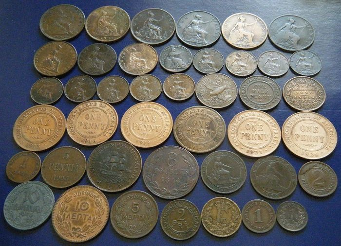 World - Lot various coins 1821/1983 (42 pieces) from 14 countries