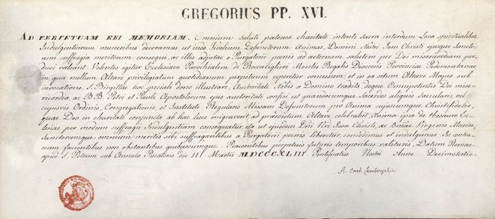 Gregorio XVI Pope (in name of) - Luigi Lambruschini  - Manuscript; Papal Bull on Vellum with Original Papal Seal - 1843