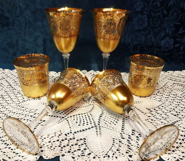 Cristal T. Murano - Wonderful service in Murano glass and 24 kt gold (6) - .999 (24 kt) gold, Crystal