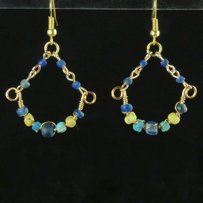 Ancient Roman Glass Earrings with blue, turquoise and yellow glass beads - (1)
