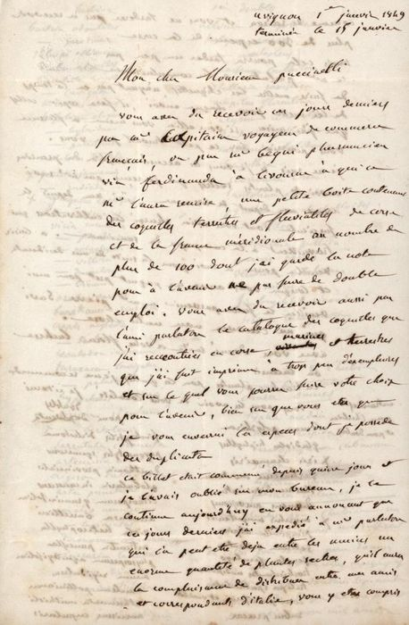 Esprit Requien - Autograph; Letter for Sent about 100 Terrestrial and River Shells from Avignon - 1848