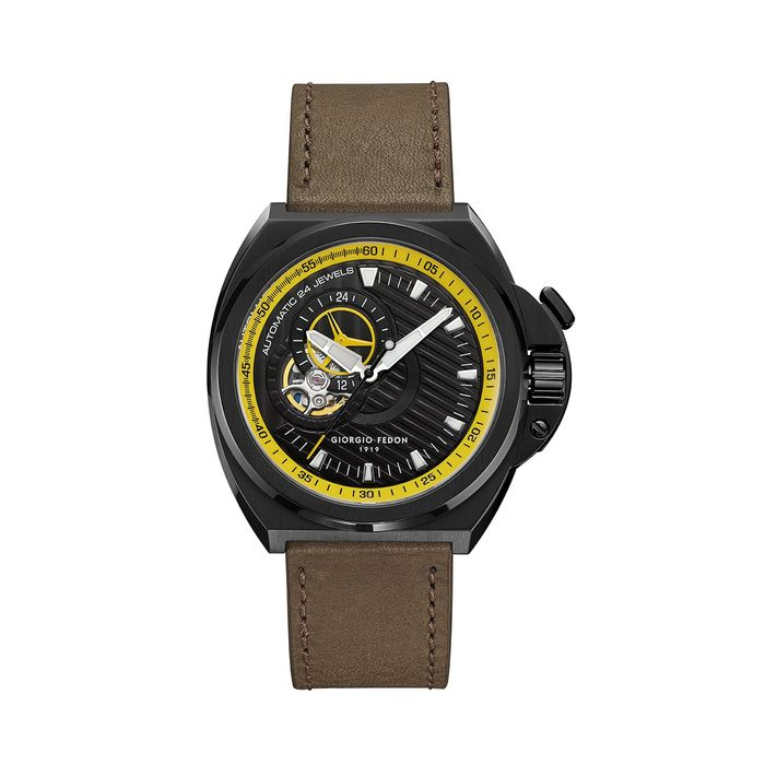 """Giorgio Fedon - Automatic Skywalker Black PVD Black Dial Olive Leather Strap - GFCM002 """"NO RESERVE PRICE"""" - Heren - 2011-heden"""