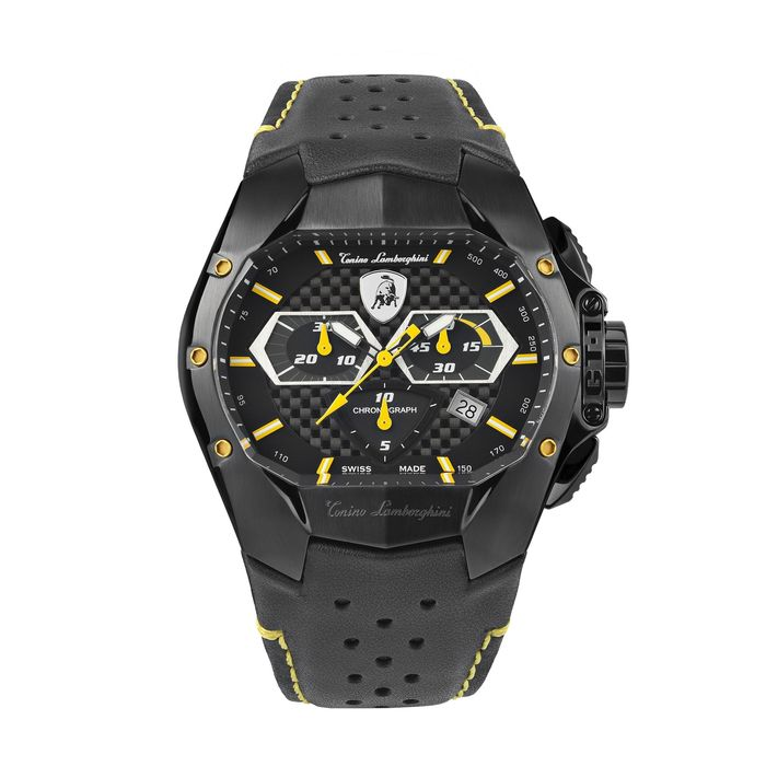 Tonino Lamborghini - GT1 Chronograph Watch Yellow Carbon Swiss Made - T9GE - Heren - 2011-heden