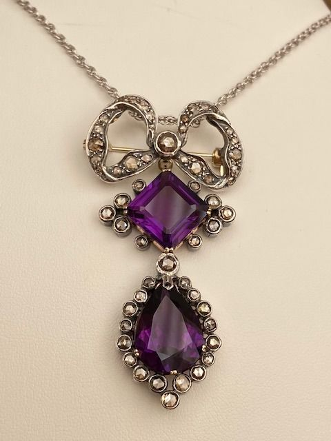 14 kt. Gold, Silver - Necklace with pendant - 19.00 ct Amethyst - Diamonds