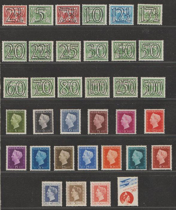Pays-Bas 1931/1948 - Numeral type 'Guilloche', Wilhelmina 'Hartz' and Airmail - NVPH 356/373, 474/489, LP9