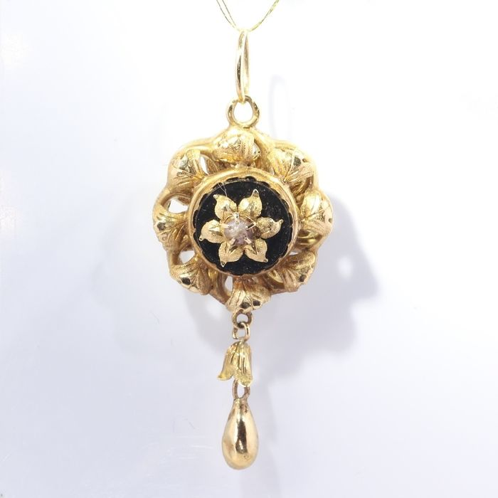 18 kt. Yellow gold - Pendant, Antique Victorian, Anno 1890 - Onyx - Pearl, NO RESERVE PRICE