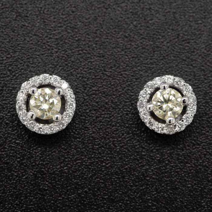 14 kt. White gold, 2.03g - Earrings - 0.52 ct Diamond - No Reserve Price