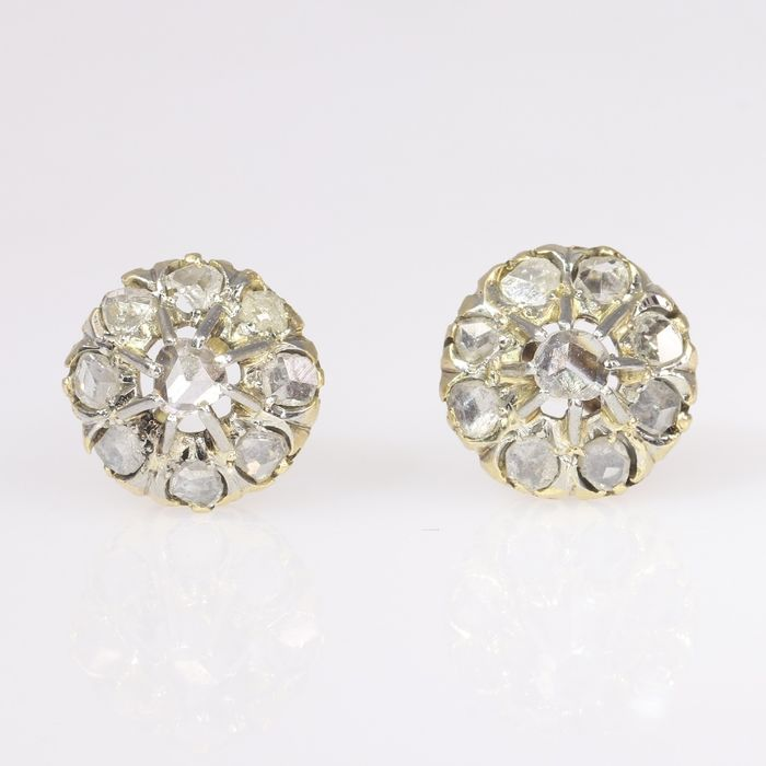 18 kt. Yellow gold - Earrings, Ear studs, Antique Victorian, Anno 1880 - Diamond - Natural (untreated), NO RESERVE PRICE