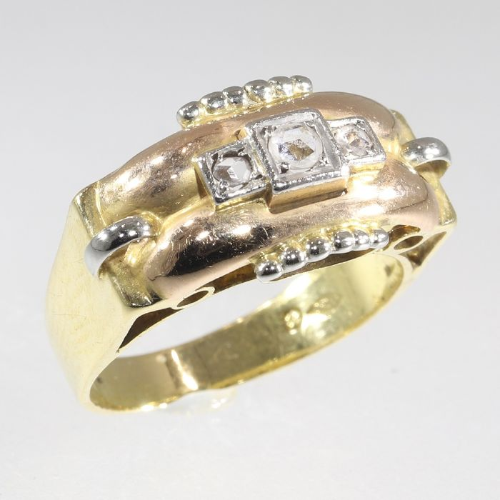 18 kt. Pink gold, White gold, Yellow gold - Ring, Vintage 1950's Retro Fifties - Diamond - Natural (untreated), Free resizing* NO RESERVE PRICE