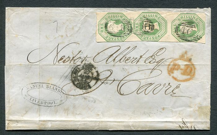 1847 - 1 shilling green Embossed vertical STRIP OF 3 on cover - Stanley Gibbons 55