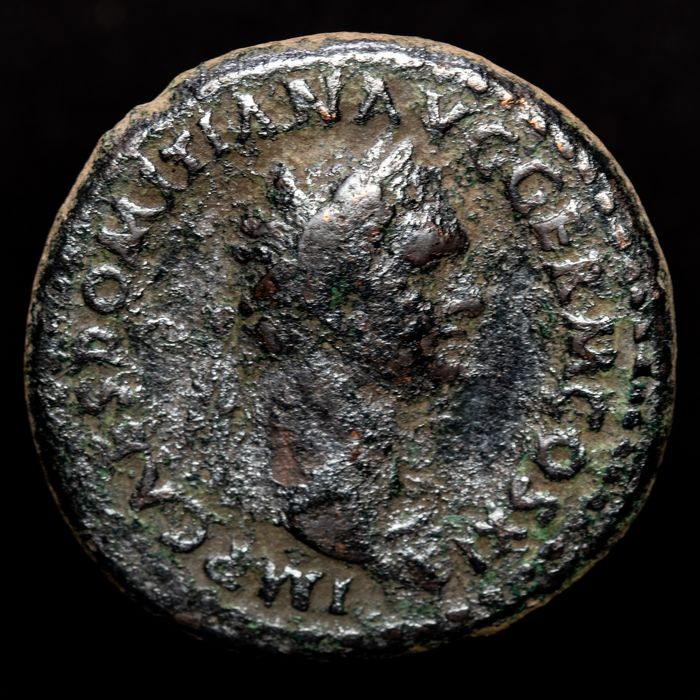 Roman Empire - AE As, Domitian (81-96 A.D.) Rome - IOVI CONSERVAT, S C Jupiter holding thunderbolt and scepter. - Bronze