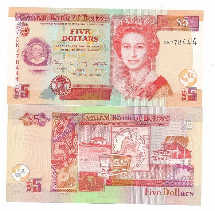 Belize - 10 x 2 dollars 2014 and 1 x 5 dollars 2009 - Pick 66e (10) and 67d (1)