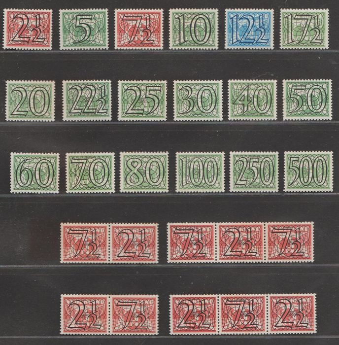 Pays-Bas 1940 - Numeral type ´Guilloche´ including strips - NVPH 356/373 + 356a/d