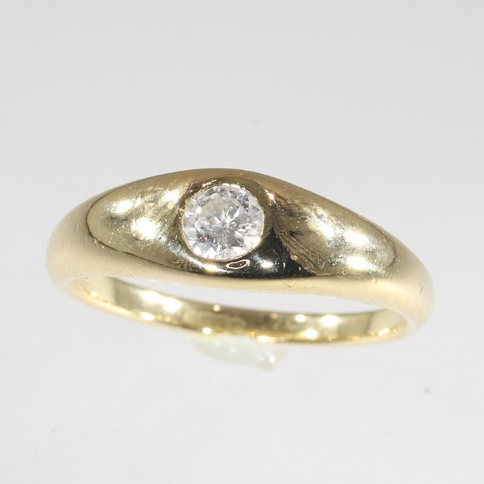 18 kt. Yellow gold - Ring, Vintage, Anno 1975 - 0.23 ct Diamond - Natural (untreated), Free resizing* NO RESERVE PRICE