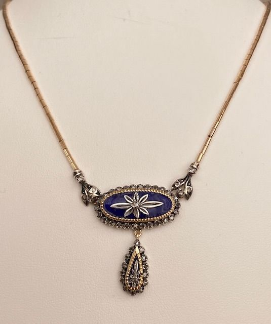 18 kt. Silver, Yellow gold - Necklace with pendant - 0.70 ct Diamond