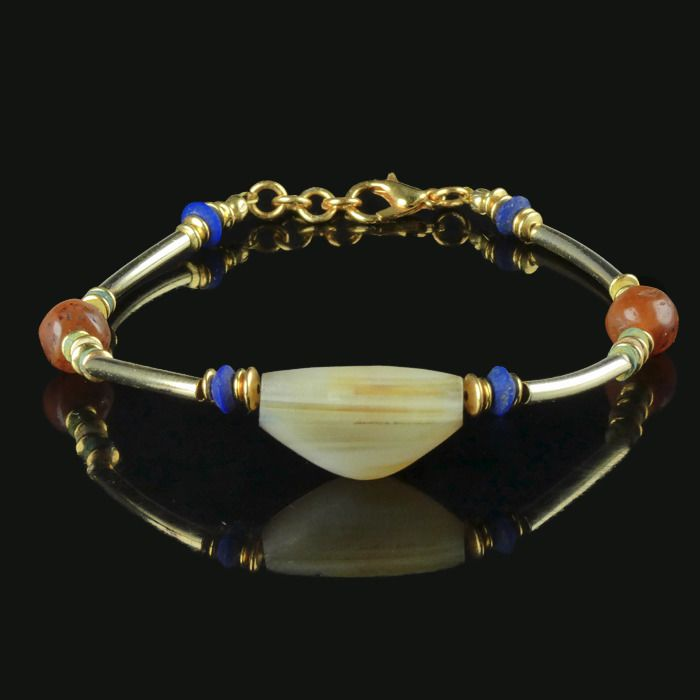 Ancient Egyptian Faience Bracelet with carnelian, Lapis Lazuli and agate beads - (1)