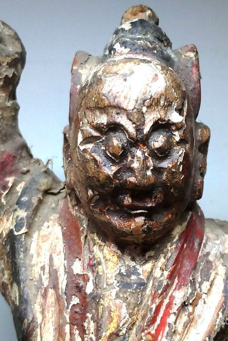 Statue - Wood - Ancient Zhong Kwei ( 鍾馗神像) Demon Queller - China - Late 19th century