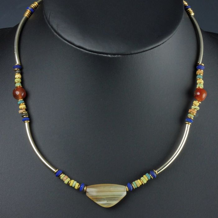 Ancient Egyptian Faience Necklace with carnelian, Lapis Lazuli and agate beads - (1)