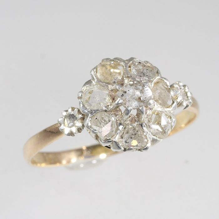 18 kt. Pink gold, White gold - Ring, Antique Victorian, Anno 1900 - Diamond - Natural (untreated), Free resizing* NO RESERVE PRICE
