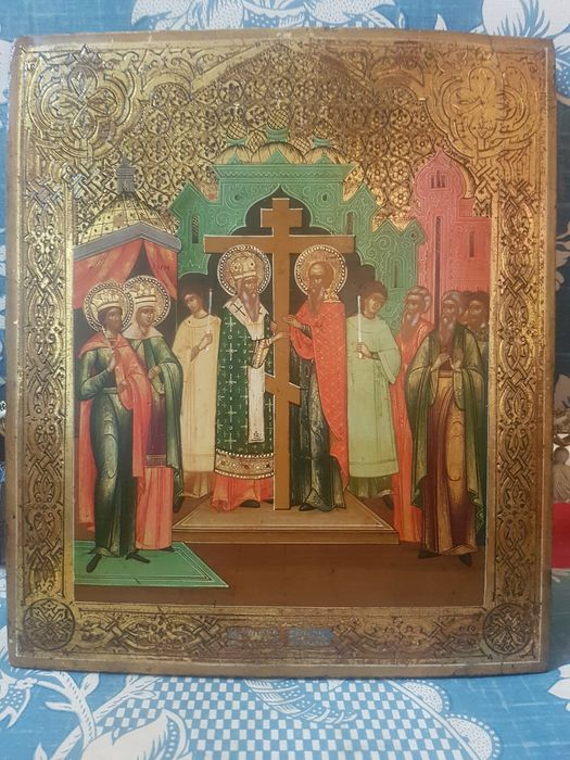 Icon, The Elevation of the True cross  (1) - Wood - 19th century