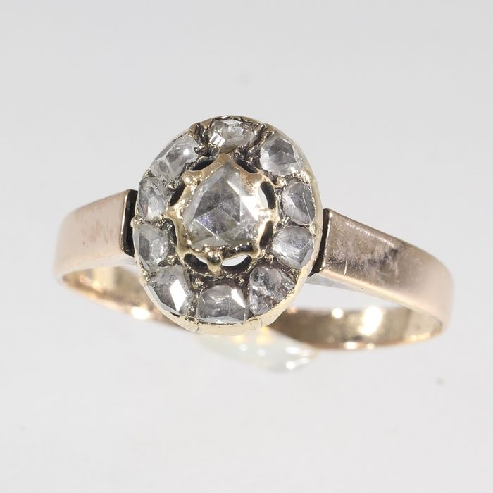 18 kt. Pink gold - Ring, Antique Victorian, Anno 1880 - Diamond - Natural (untreated), Free resizing* NO RESERVE PRICE