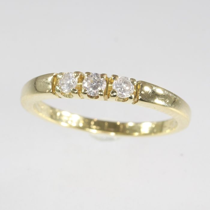 18 kt. Yellow gold - Ring, Inline, Vintage, Anno 1992 - 0.36 ct Diamond - Natural (untreated), NO RESERVE PRICE