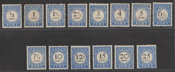 Pays-Bas 1894/1910 - Postage due numeral denomination in black - NVPH P13/P26