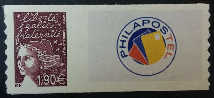 Frankreich 2003 - Rare customised stamp, €1.90 plum with Philapostel logo. - Maury Timbre personnalisé 15Aa