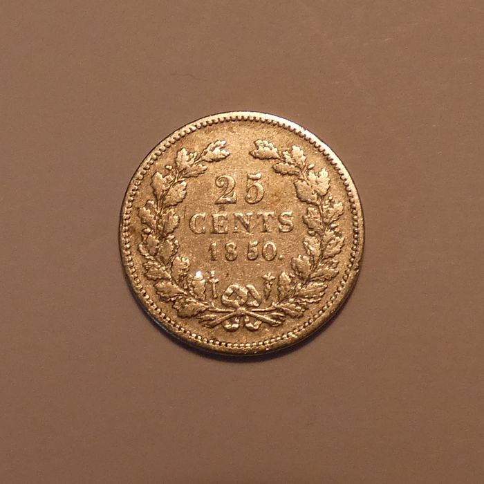 Netherlands. 25 Cent 1850 Willem III