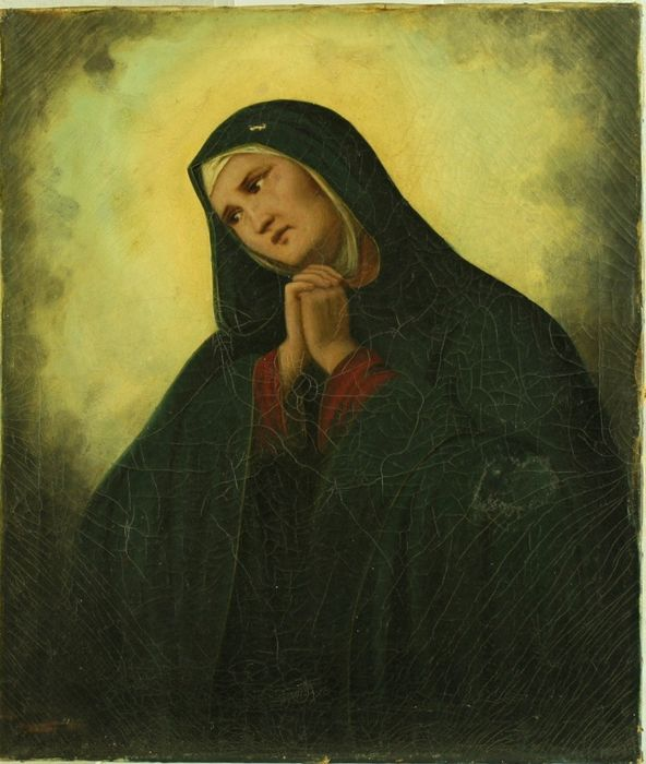 Painted, Mater Dolorosa - oil painting on canvas - Late 19th century